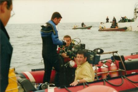 BBC film crew doing interview before Baden dive...